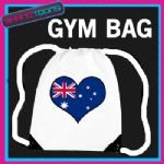AUSTRALIA FLAG HEART LOVE GYM DRAWSTRING WHITE GYMSAC BAG